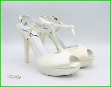 Zapatos De Sposa Marfil Con Tacón Alto Plataforma Mujer Sandalias Elegantes Boda