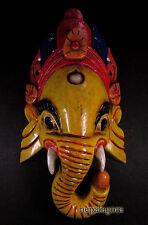 M136 Hand craft painted wooden Hindu Ganesh Elephant Mask Art Wall Hanging Nepal