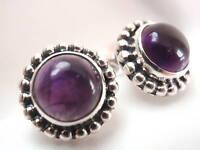 Purple Amethyst Spheres 925 Sterling Silver Stud Earrings Corona Sun Jewelry