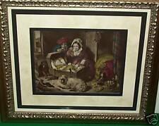 Renaissance Vintage Etching with astonishing hand - colored detail