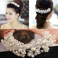 New Pearl Flower Crystal Rhinestone Wedding Bridal Headband Clip Hair Band Tiara