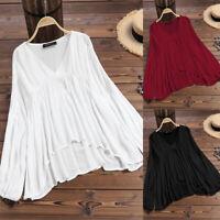 ZANZEA 8-24 Women Long Sleeve V Neck Pullover Plain Basic Top Tee T Shirt Blouse