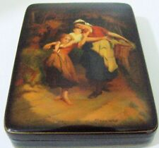 "One of a Kind Fedoskino Lacquer Box ""Children with Laundry"" by Tretyakov Victor"