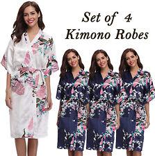 Set of 4 Wedding Bridal Party Bride & Bridesmaid Robes! Peacock Kimono Robe Navy