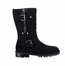 NWT Guess $148 Ordan Quilted Flat Faux Shearling Suede Boots Black US 6.5 EU 37