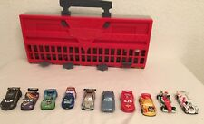 Disney Pixar Cars 2  Storage Carry Case World Grand Prix Race Launcher & 10 Cars