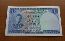 CENTRAL BANK OF CEYLON ONE RUPEE BANKNOTE KGVI SERIES 'A' 1951 VERY RARE aUNC