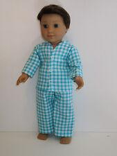 "Turquoise Plaid Pajamas 18"" Doll Clothes Logan American Girl"