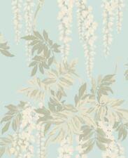 Floral Romantic Classic Wisteria Blue Cream White Green Double Roll Wallpaper