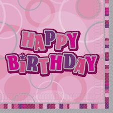 16 Stück Pink Glitzer Servietten Geburtstag Deko Partydeko Tischdeko 33 x 33 cm