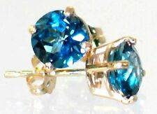 London Blue Topaz, 14KY Gold Post Earrings, E012