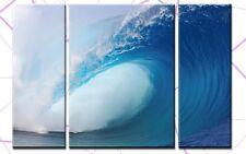 THE WAVE 3 BILDER LEINWAND 120x80 WELLE MEER SURFEN