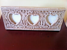 Heart Collage Photo Frame Hand Carved Rustic Wood Triple Display Wedding Chic