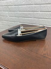J Crew Edie Loafers Leather Pointed Toe Black With White Piping 11