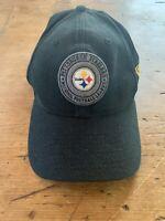 New Era 9Twenty NFL Pittsburgh Steelers Adjustable Hat Cap Black with Gray Patch