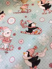 Studio e Menta Piperita Penguin 3018-11 SCI Renne orsi polari tessuto Natale