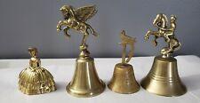 4-Vintage Brass Bells Victorian Lady Horse w/Knight, Flying Horse .Bird