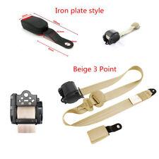 Universal 3Point Adjustable Car Seat Belt Lap & Diagonal Belt Iron Plate Style