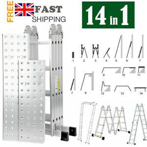 4.7M Folding Ladder Aluminium Multi Purpose Extendable With Scaffold Platform UK