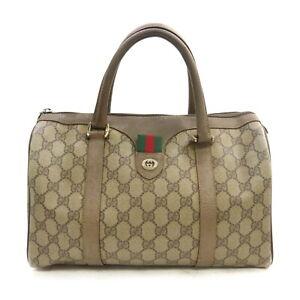 Gucci Hand Bag GG PLUS Beiges PVC 1525156