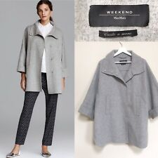 Max Mara Coat Jacket Virgin Wool Grey Teddy Boyfriend Oversized Jacket S UK 10