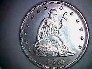 1875 P TWENTY CENT PIECE 90% SILVER CIRCULATED, HAS BEEN CLEANED. TC20SP