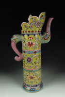 Chinese Antique Famille Rose Porcelain Wine Pot w Flower Pattern
