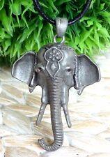 Elefantenkopf Anhänger XL Echt Leder Kette Silber Elefant Indien Boho Grau