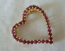 Solid 14K Yellow Gold Ruby Heart Pendant  - 3 gms, 1 inch,  1.0 ctw