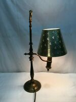 Vintage Brass Tole Mid Century Desk Table Lamp With Paper Cut Shade
