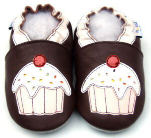 New Born Baby Shower Gift Girl Shoes Soft Sole Leather Crib CupcakeBurgundy 0-6M