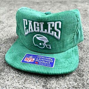 New! 90s New Era NFL Snapback Hat Philadelphia Eagles Corduroy Green Vintage
