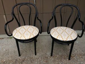 Bentwood Arm Chairs PAIR Updated Black Mid Century Kitchen Dining Occasional