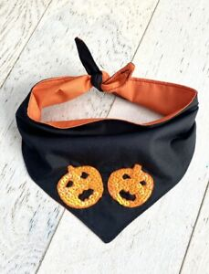 Handmade Halloween Pumpkin Sparkles Small Dog, Puppy Cat Bandana Accessory