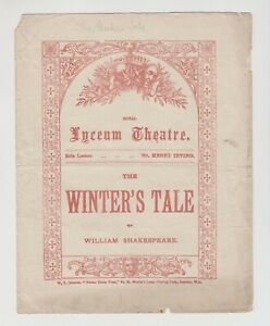 """ANTIQUE VICTORIAN PROGRAMME """"Winter's Tale"""" Shakespeare, Royal Lyceum Theatre"""