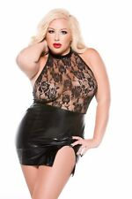 ALLURE KITTEN WET LOOK HALTER DRESS PLUS SIZE