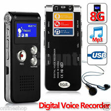8GB Rechargeable Digital Sound Voice Recorder Dictaphone MP3 Player Record New