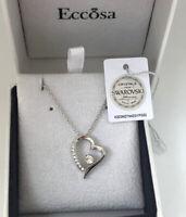 Herz Halskette Anhänger mit Swarovski Kristallen Weißgold 18K vergoldet Etui