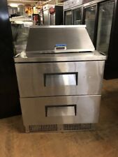 True Tfp-32-12M-D-2 32� Commercial Sandwich Prep Table Cooler Used With 2 Drawer