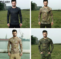 Mens Military Long Sleeve Tactical T-Shirt Army Combat Outdoor Casual Camouflage
