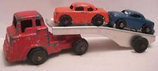 Old Barclay Diecast Car Carrier w/ 2 Cars - aluminum trailer
