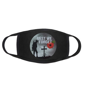 LEST WE FORGET Remembrance Anzac Day Poppy Face Mask Covering Washable Reusable