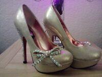 schuh gold champagne embellished  platform court party xmas  shoe size uk 3 eu36