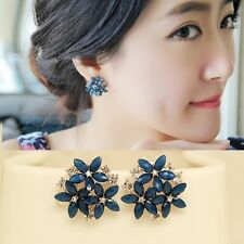Ladies Amazing Quality BLUE & White Crystal Flower Stud Earrings Jewelry Gift UK
