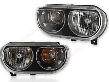 Pair Eagle Eyes Black Housing Halogen Ver Headlights for 08-14 Dodge Challenger