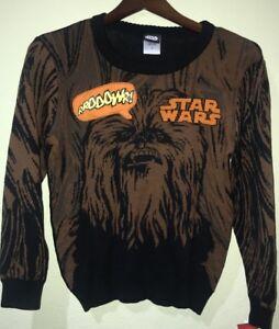 NWT Medium Disney Boys Star Wars Chewbacca Brown Black Sweater Makes Sounds Soft