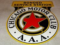 "VINTAGE CHICAGO MOTOR CLUB A.A.A. 12"" METAL SERVICE STATION, GASOLINE & OIL SIGN"