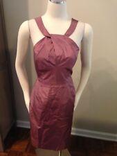 J. Crew Gracie Mauve Purple Halter Style 100% Silk Taffeta Dress 10 Excellent