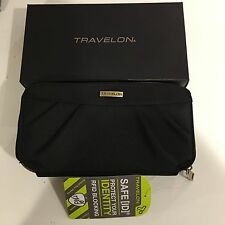 NEW TRAVELON Safe ID Security RFID Block Wallet Black Polyester, Tags and Box!