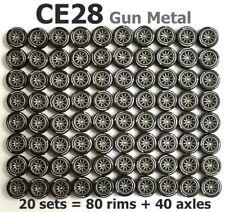 1/64 rubber tyres - CE28 gun metal rim fit Hot Wheels Toyota diecast - 20 sets Z